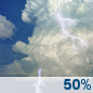 Saturday: A chance of showers and thunderstorms.  Partly sunny, with a high near 87. Chance of precipitation is 50%.